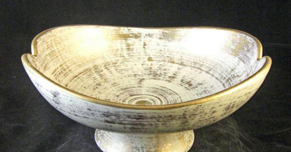 Haeger gold tweed footed centerpiece bowl vintage