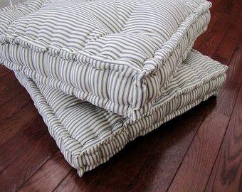 Linen Floor Pillow Tufted Floor Cushion With French Mattress Etsy Floor Cushions Floor Pillows French Mattress