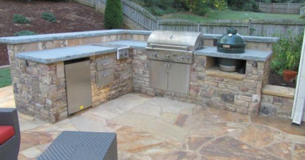 Stacked Stone Outdoor Kitchen With Pennsylvania Bluestone Countertops In Cobb County Ga Incl Outdoor Kitchen Outdoor Kitchen Countertops Outdoor Kitchen Design
