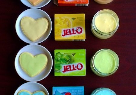 Rainbow Heart Cookies with Jell-O Flavored Icing. You can add colour AND