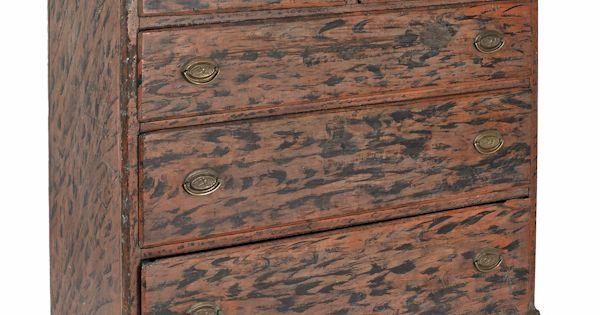 Pine Semi Tall Chest Ca 1810 56 H 43 W American Furniture