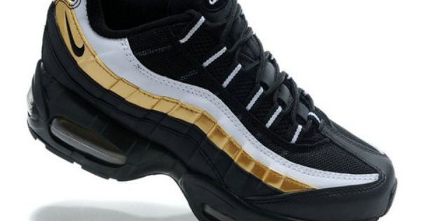 Nike Air Max 95 Mens Running Black Gold White With Images