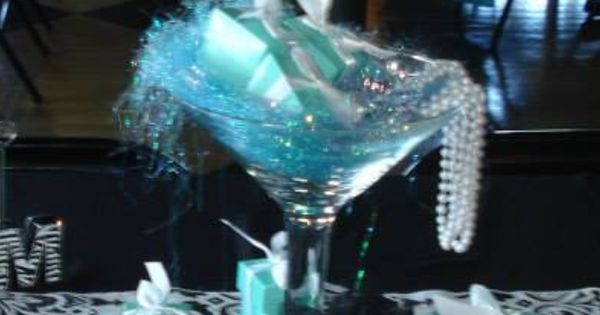Tiffany Themed Centerpiece Big Martini Glass Filled With Pearls And Diamonds And Tiffany Boxes