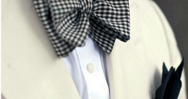 Bow tie - plaid bow tie, black pocket square, white blazer
