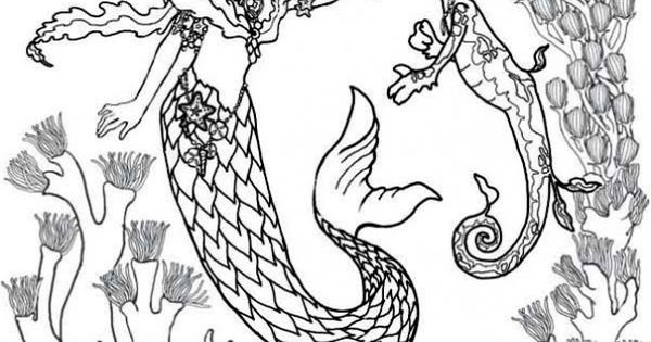mermaid and seahorse coloring pages - photo#18