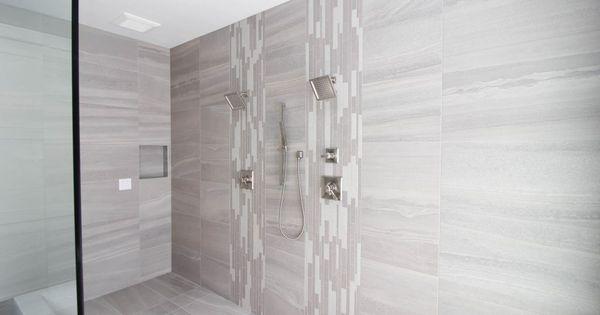 Shower Tile Davenport 16x36 Earth Accent Tile Belgian Linen Dark Random Strip Mosaic Shower Door Custom Glass Home Remodeling Residential New Carpet