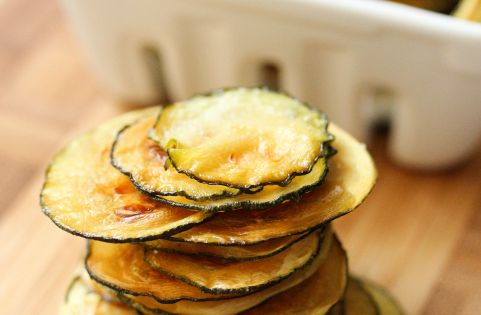 Zucchini Chips - slice very thin and press between sheets of paper