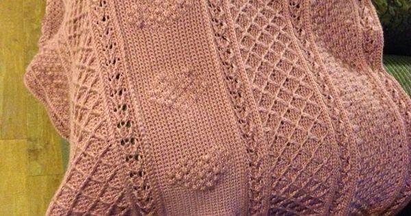 Aran Hearts Throw Pattern From Red Heart Com My Crochet