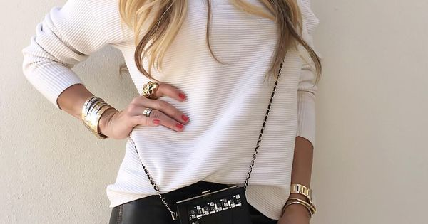 red tag purses - Up Close - #Intermix (own brand) top, #YSL leather skirt and ...