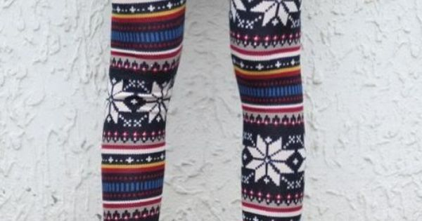 Womens Multi Style Nordic Snow Flake Reindeer Knitted Xmas Leggings Tights Pants