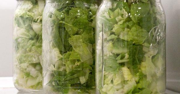 Store your salad in mason jars. It will keep for 7-9 days