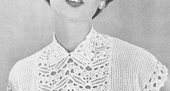 1955 Leaf and Flower Yoke Blouse Crochet Pattern Crochet ...