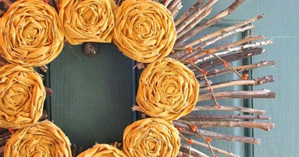 @Kayla Hammaker the fabric flowers reminded me of you, CUTE Autumn wreath