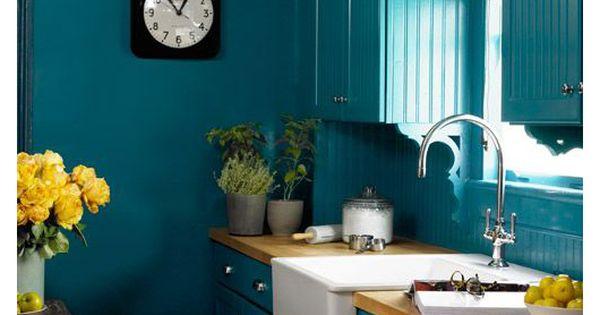 Cuisine bleu canard id es d coration cuisine bleue for Cuisine peinture bleu canard