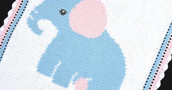 Elephant Baby Afghan Graph Crochet Pattern Easy Graph