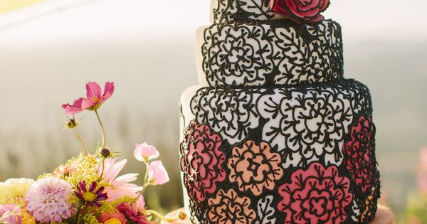 black, white, and red wedding cake, coloring book