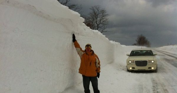 A snow drift along M116 in Ludington Michigan on February ...