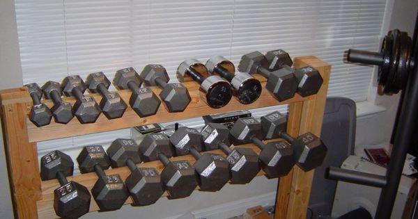 Diy dumbbell rack working on my fitness pinterest