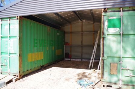 Plenty Of Storage In Centre And Above Containers Shipping Container Sheds Shipping Container Shipping Container Buildings