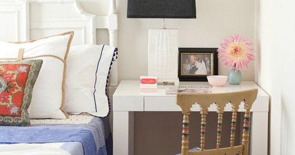 the bedside office desks doing double duty as nightstands