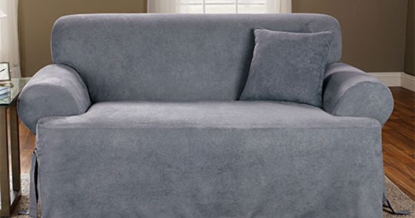 Sure Fit Soft Suede One Piece Sofa Cover In Blue