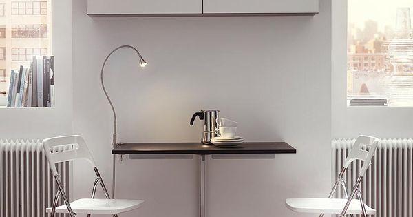 Bjursta table rabat fix e au mur en noir brun 2 places - Table pliante fixee au mur ...