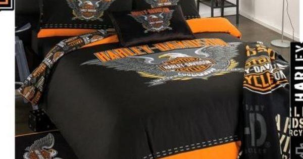 Harley davidson single bed duvet cover and pillow slip for Housse moto harley davidson