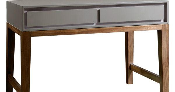 Gray Lacquer Walnut Base Console Table Furniture