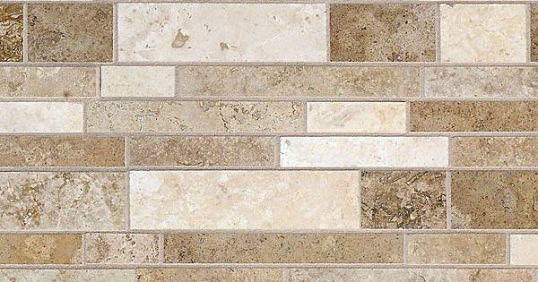 Multi Color Travertine Mix Subway Backsplash Tile Dark