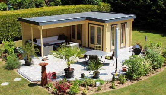 Kundenbild Pultdach Gartenhaus Maria 40 Mit Anbau Schleppdach Iso Garden Buildings Roof Garden Backyard Sheds