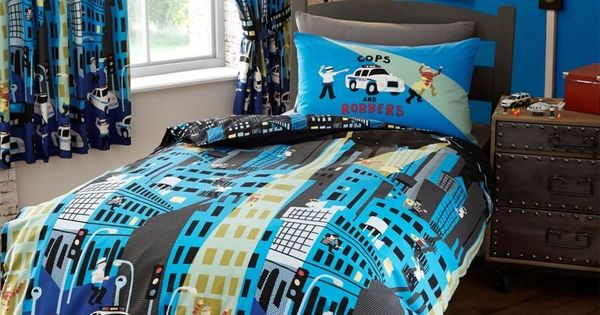 Childrens Cops Amp Robbers Police Chase Double Duvet Cover