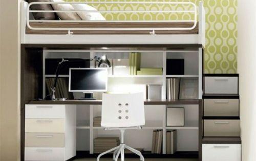 Hochbett und schreibtisch mit regalen platzsparend - Dormitorios con poco espacio ...
