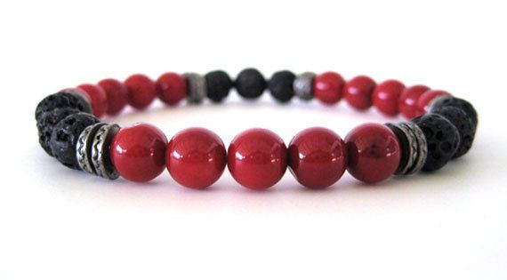 Men S Bracelet With Red Coral And Black Lava Beads