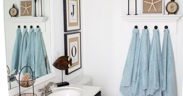 DIY Coastal bathroom Love the white walls, blue ceiling, black vanity &