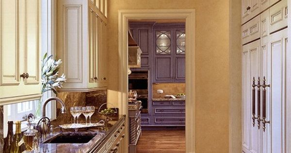 Elegant Butlers Pantry With Off White Cabinets Stone Count Top White Cabinets With Butter