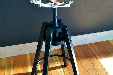 Ikea hackers dalfred stool with brooks saddle i was at the shop in portland clever cycles - Saddle stool ikea ...