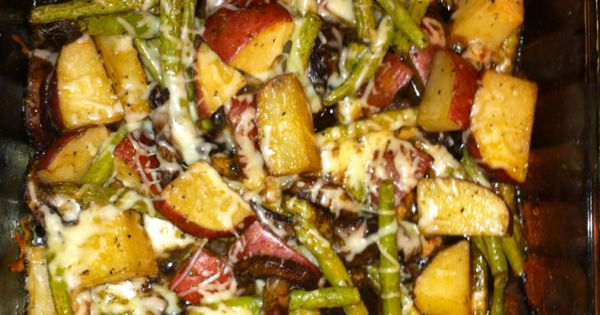 Made this tonight. Red potatoes, green beans, and italian cheese roasted in