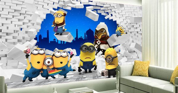papier peint tapisserie 3d chambre enfant les minions id es pour la maison pinterest. Black Bedroom Furniture Sets. Home Design Ideas