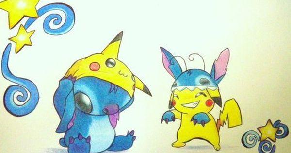 Pokemon Fan Art Pikachu And Stitch Stitch And Pikachu Stitch Drawing Cute Drawings