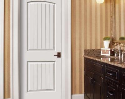 Jeld Wen Smooth 2 Panel Arch Top V Groove Painted Molded