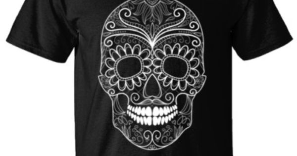 FLOWER SKULL Mens T-Shirt//Skull//Rock//Day of the Dead//Biker//Goth//Sugar Skull//Top