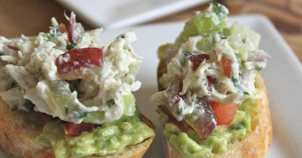 Chicken Salad and Avocado Crostini, made w/ non-fat Chobani Greek Yogurt Pinterest++