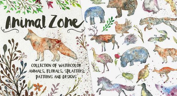 Animal Zone – watercolor animals – 45 watercolor animal silhouettes.