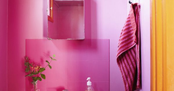 Pink And Orange In The Bathroom When We Move Bathroom