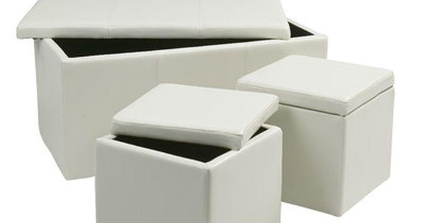 Zipcode Design Elverton 3 Piece Storage Ottoman Set Small Footstool Home Furnishings Ottoman