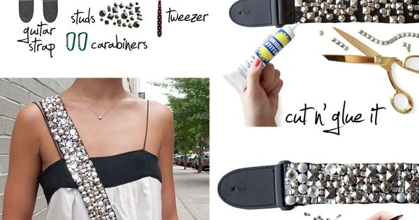 DIY bag strap made from a guitar strap. so cute!