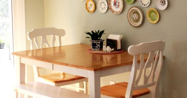 Table Against The Wall Two Chairs One Bench Seat