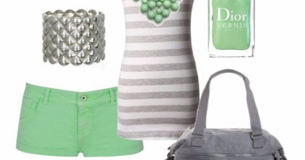Green shorts, grey & white striped tank with bubble necklace