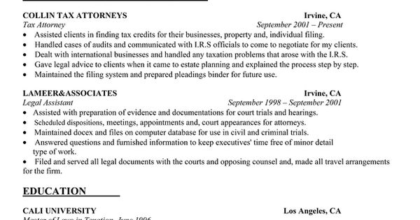 tax attorney resume sle resume sles across all