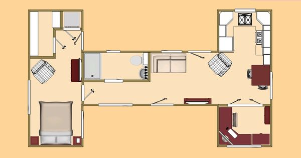 the big h floor plan a 480 sq ft shipping container design cozy 39 s shipping container. Black Bedroom Furniture Sets. Home Design Ideas